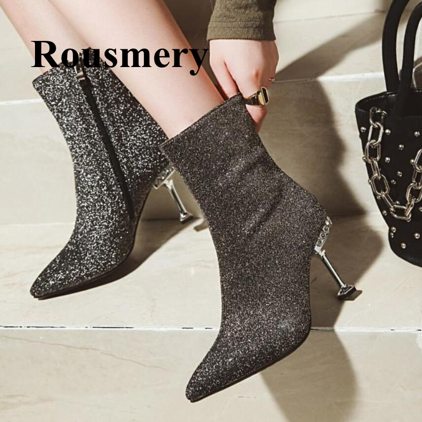 2018 Hottest Pointed Toe Thin High Heel Side Zipper Sequined Cloth Fashion Ankle Boots Sexy Four Colors Winter Women Boots2018 Hottest Pointed Toe Thin High Heel Side Zipper Sequined Cloth Fashion Ankle Boots Sexy Four Colors Winter Women Boots