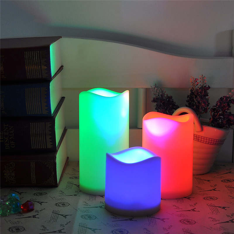 1 Set 3 PCS Color Changing Led Candle Safe For Children Flameless Wax Candles With Timer Remote Control Home Decoration