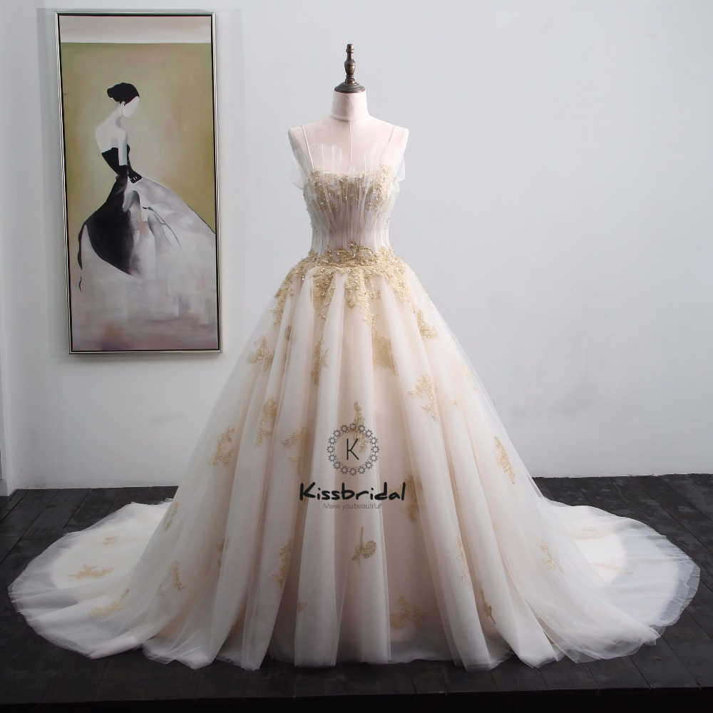 New Gorgeous Wedding Dresses 2018 With Gold Appliques Pleated Strapless Spaghetti Traps Bridal Gown: Gold Applique Wedding Dress At Reisefeber.org