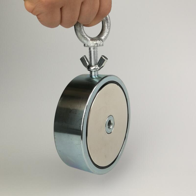 Шт. 1 шт. две стороны 500 кг магнитная сила притягивания сильный Холдинг неодимовые восстановления рыбалка обнаружения магнит горшок с глаз б...