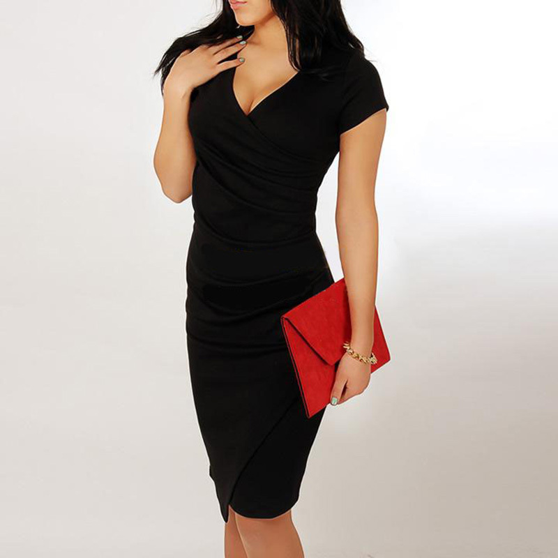 V-образным вырезом с коротким рукавом - Женская одежда - Фотография 2