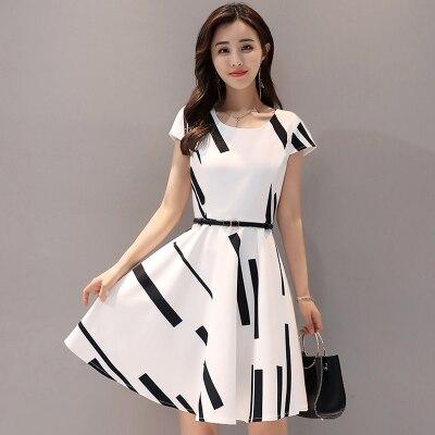 2018 summer new womens dress round neck fashion Slim thin printed dress a word
