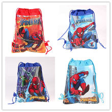 12Pcs Kids Boys School Mochila Infantil Backpacks Cartoon Spiderman Children Non-woven Drawstring Beach Travel Bag(China)