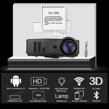 2018 NEW Sv-328 Projector Business Home Wireless With Screen Led Projector 10800p High Definition UK-Black