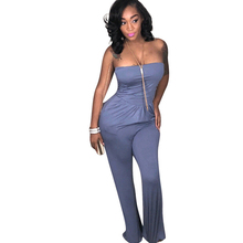 New womens sexy jumpsuit fashion strapless tube top club nightclub