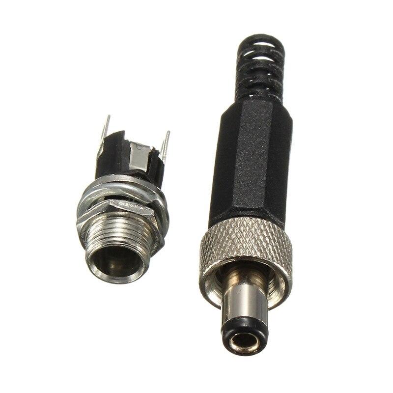 2,5 мм x 5,5 мм DC Power Female штекер Jack Разъем адаптер Винт Блокировка DC Plug & металлическая панель монтажное гнездо