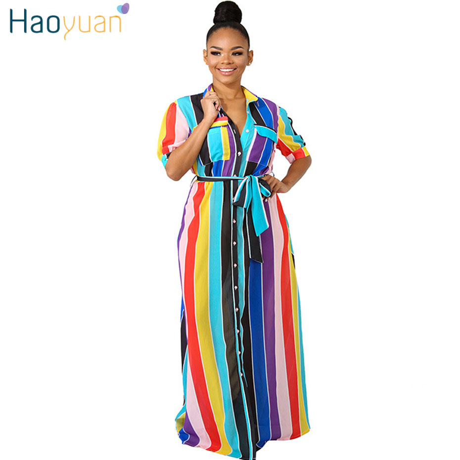 Haoyuan Plus Size Striped Loose Shirt Dress Women Clothes Summer