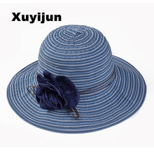 Xuyijun elegant girls flower belt striped summer hats for women Panama sunhats beach hat Roses opening bone Cloth straw hat(China)