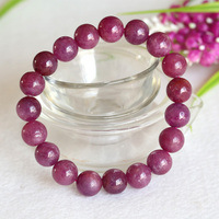 Free Shipping Wholesale Natural Genuine Pink Red Ruby Bracelet Smooth Round Beads Finished Stretch Bracelets Big