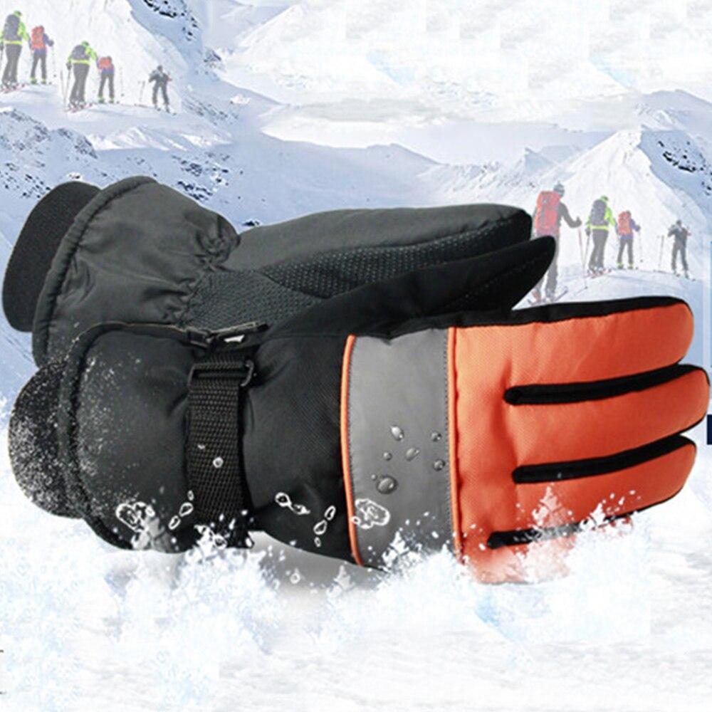 1 Pair Winter Warm Full Finger Skiing Gloves Ski Snowboard Waterproof Windproof Adjustable Strap Riding Skiing Motorcycle Gloves