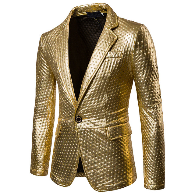 Gold suit Mens Dot Embossing Casual PU Leather Blazer   2017 Winter Brand New Male Thick Fashion Leather Blazer Coat Outwear
