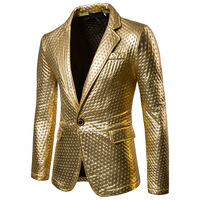 Gold Suit Mens Dot Embossing Casual PU Leather Blazer 2017 Winter Brand New Male Thick Fashion