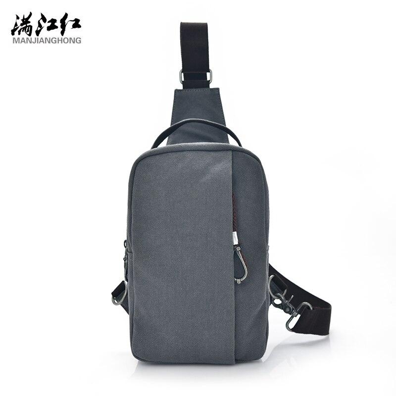 Manjianghong Army green/Blue black/Gray/Khaki Fashion Bag Casual Canvas Man Chest bag Portable Packet Crossbody 1370