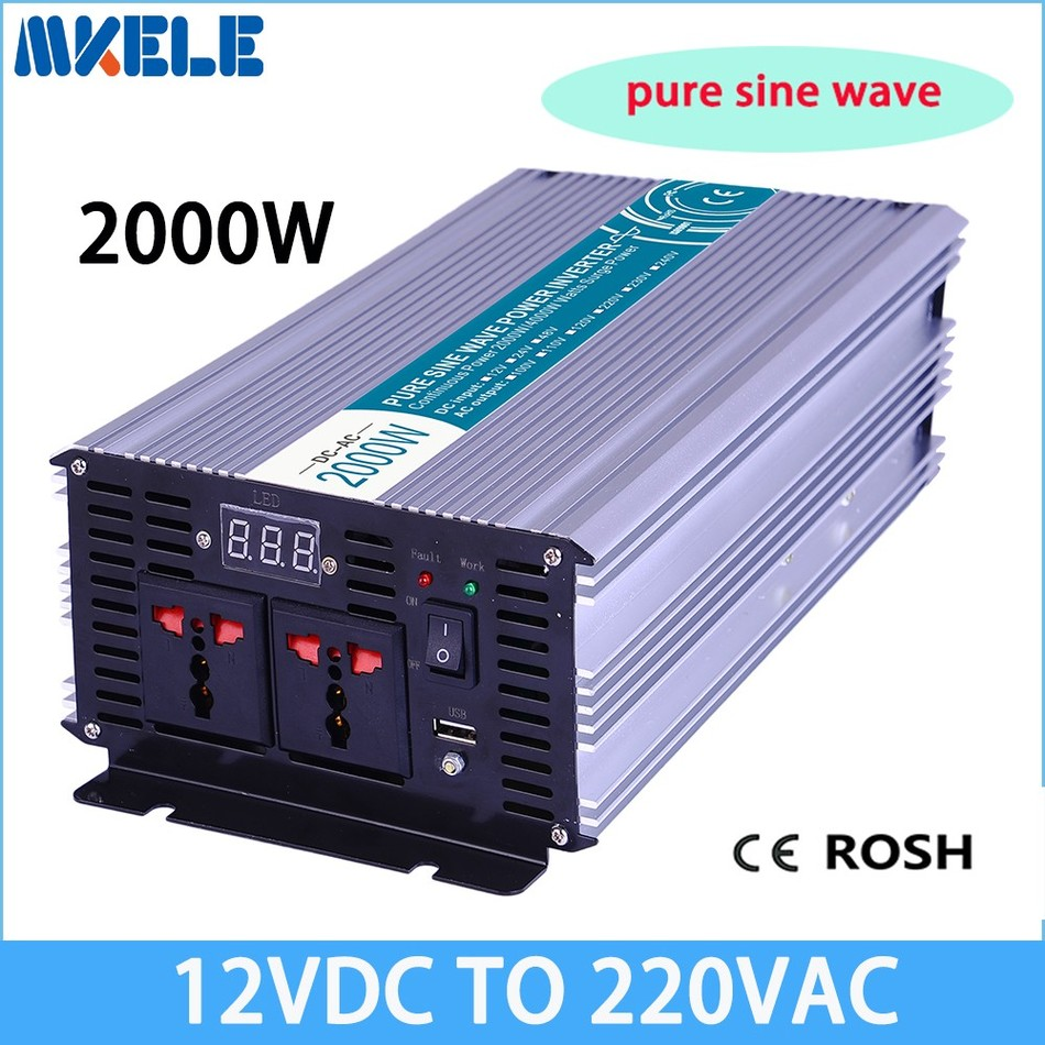 цена на MKP2000-122 off grid 12v to 220v solar inverter pure sine power inverter 2000w off grid voltage converter LED Display