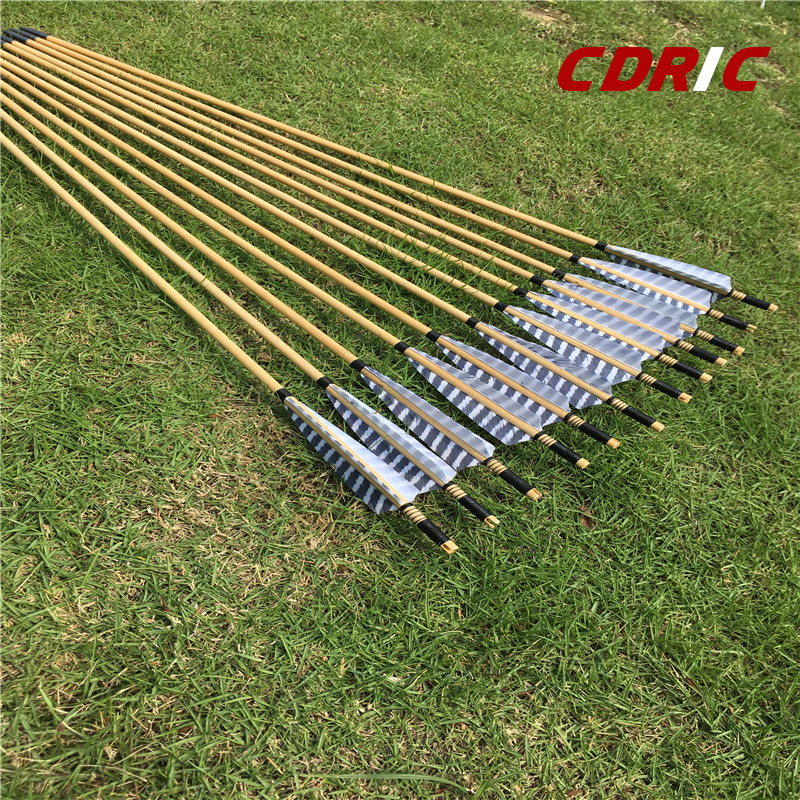6/12/24pcs Wooden Arrows 32 Inch With  Turkey Feather  For 25-70lbs Bows For Longbow Archery Shooting