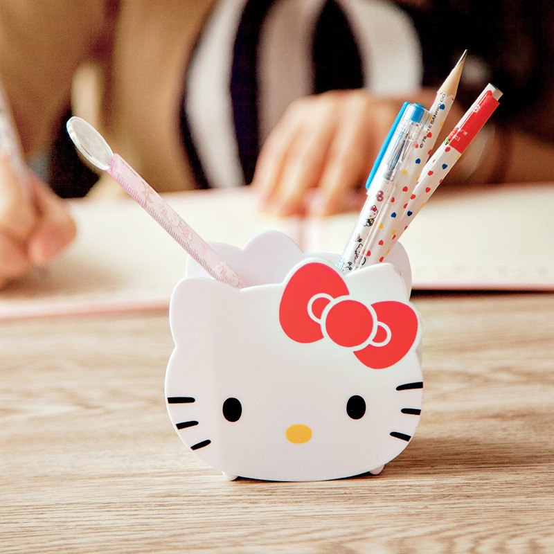 JOUDOO Creative Kawaii Hello Kitty Pen Holder Plastic Desk Pencil Storage Box Children Gifts School Supplies for Kids