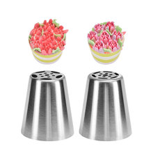 2pc Rose Flower Russian Nozzle Icing Piping Pastry Tips Stainless Steel Cream Tube Cake Decorating Mold Tools