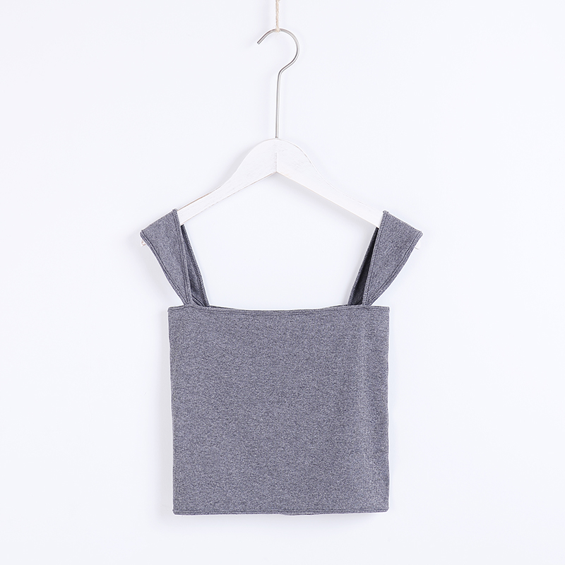 7ce370fa21d628 2019 Women Square Neck Ribbed Crop Cami Top Crop Tank Top From ...