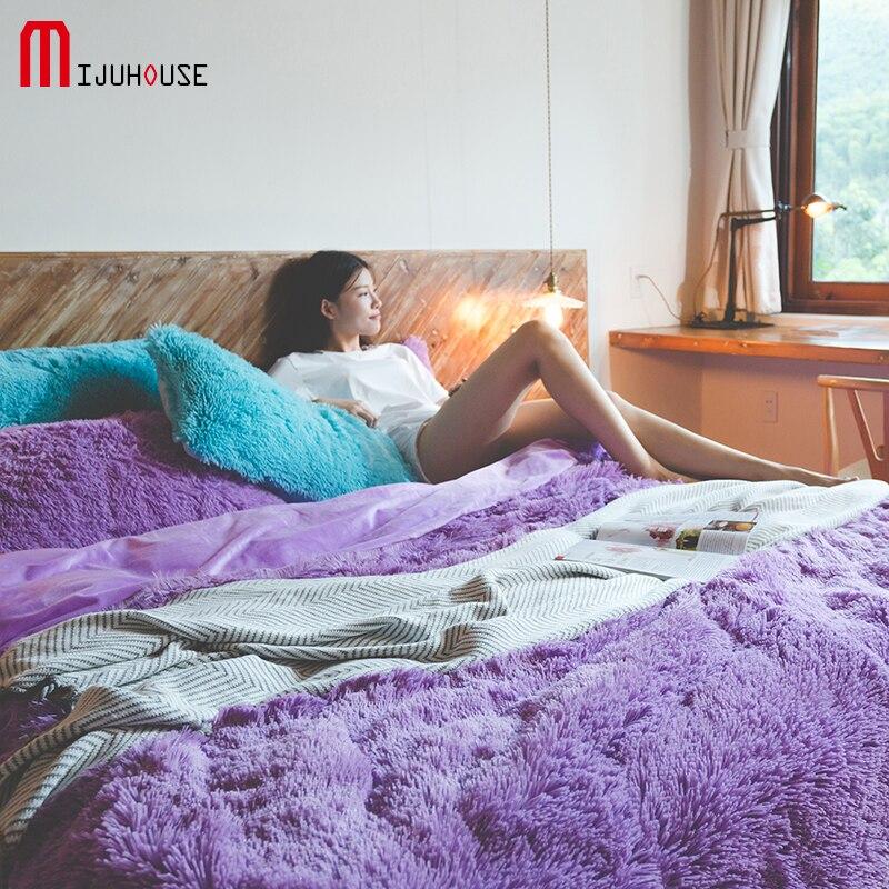 Корейский бархат норки Постельное белье Фиолетовый Зима Утепленная одежда утолщение фланели двуспальная кровать полный Queen Размер 4 шт Пос