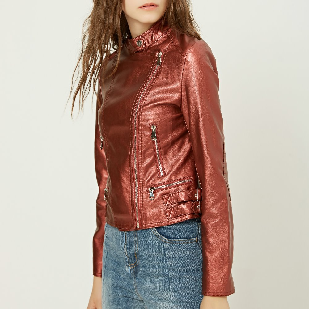 Fashion Spring Autumn Women Soft Faux Washed Leather Jacket Long Sleeve Zipper Red Pink Motorcycle PU