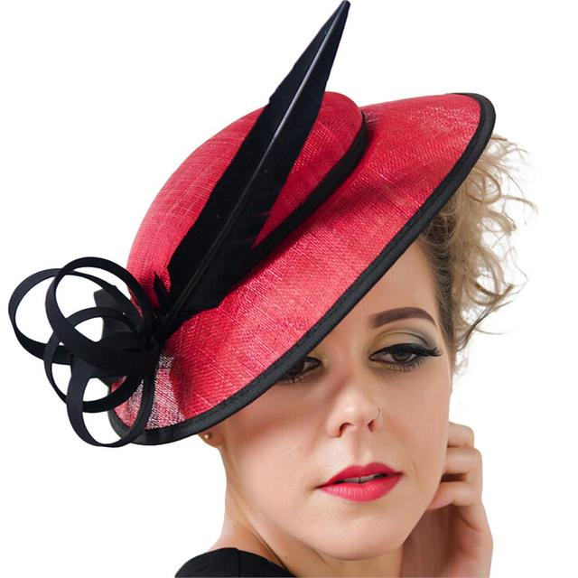 Fashion Party British Style Wedding Beach Cocktail Dress Dome Sinamay Hats  with Feather large Brim Linen Yarn Hair Accessories 252119b8383