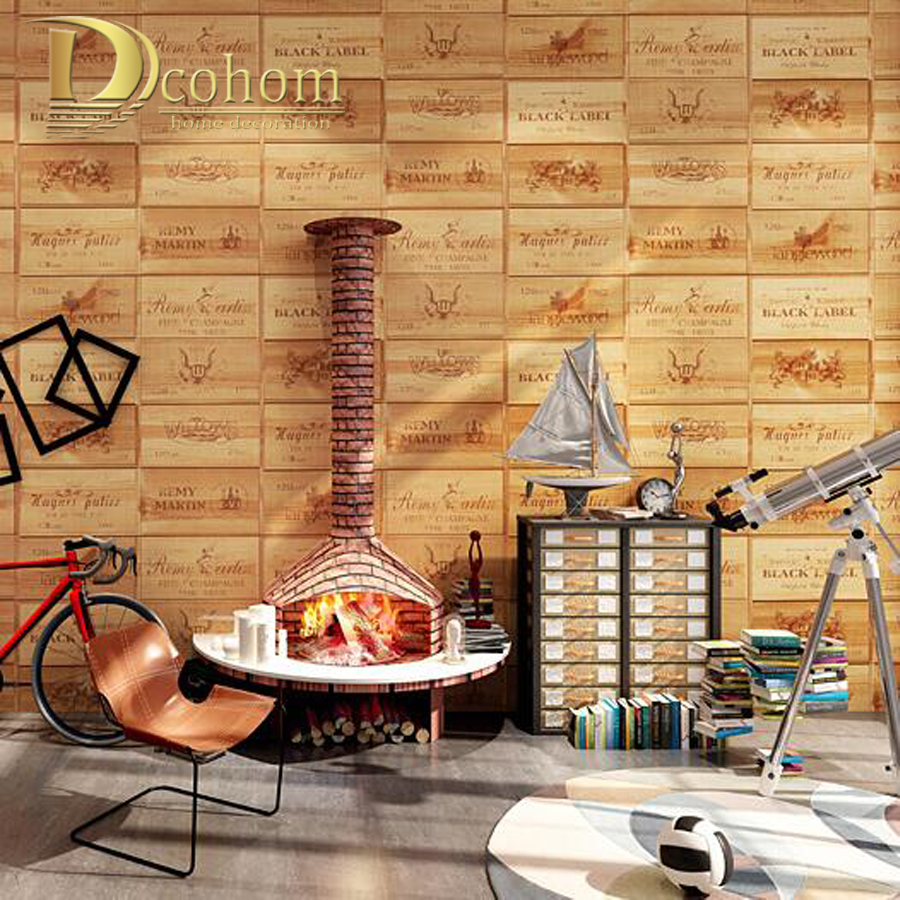 hot sale quality wood wallpaper wine box plaid zakka wall paper three-dimensional relief papel de parede For Living room R151