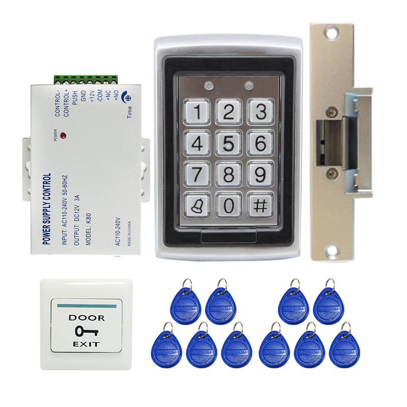 Brand New DIY Metal Case RFID Reader Door Access Control System Kit Set + NC / NO Electric Strike Door Lock Free Shipping