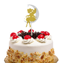 Cupcake Topper Moon girl Cake Flags For Wedding Birthday Party Cake Baking Decor DIY