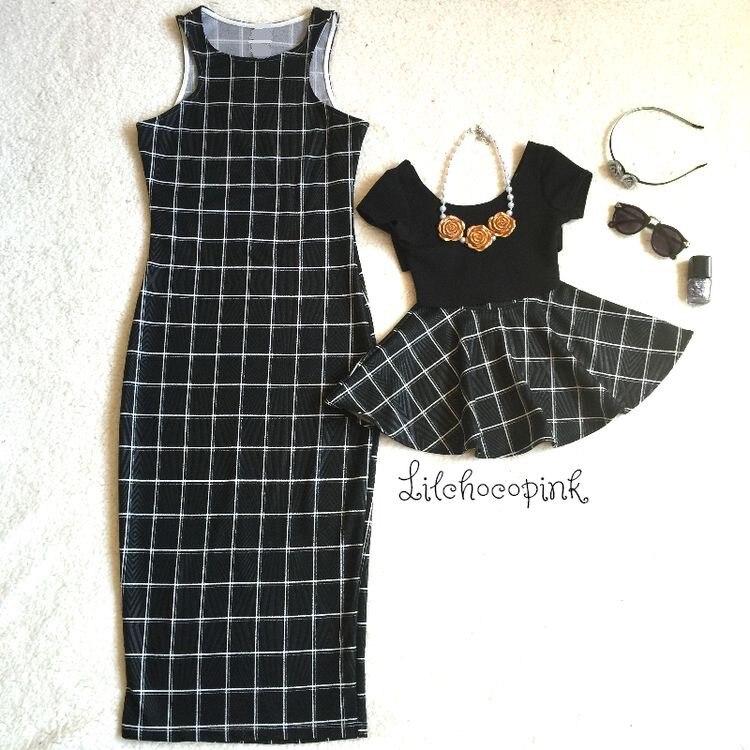 Лидер продаж платье для мамы и дочки Летние черные в клетку Танк платье длиной до колен классический жилет платья без рукавов Новый AF-1802