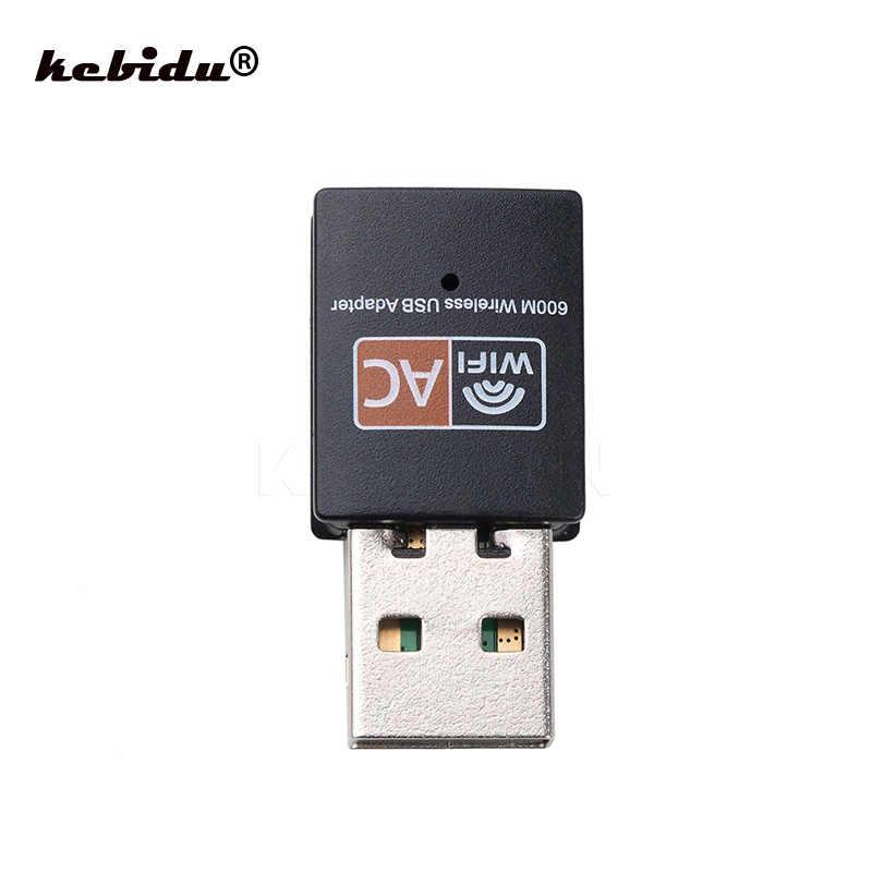 Kebidu inalámbrico 600Mbps adaptador WiFi USB 2,4 GHz 5GHz WiFi antena tarjeta de red receptor de doble banda 802.11b/n/g/ac para ordenador PC