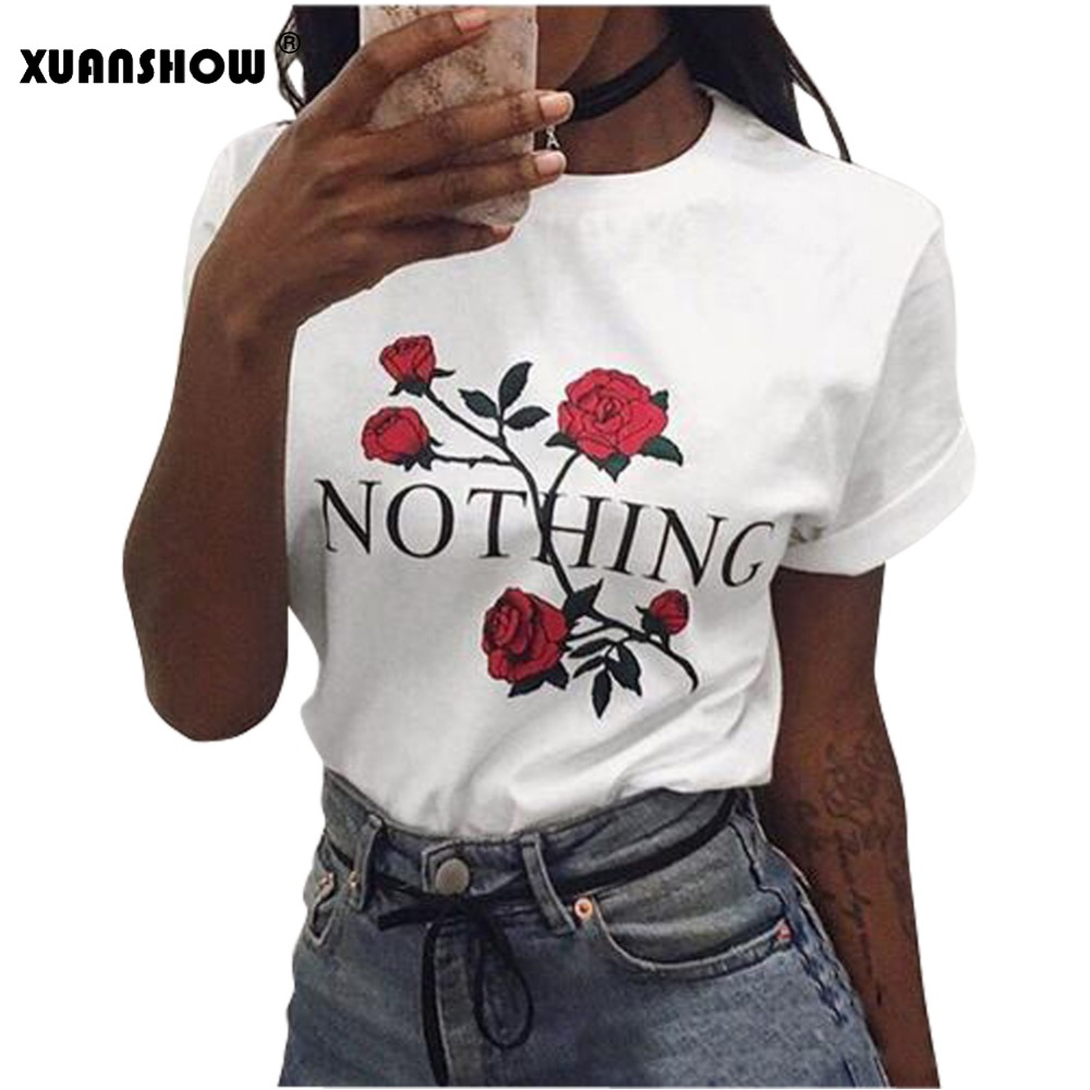 New Arrival 2017 Fashion Women S T Shirts O Neck Red Rose NOTHING Letter Print Female
