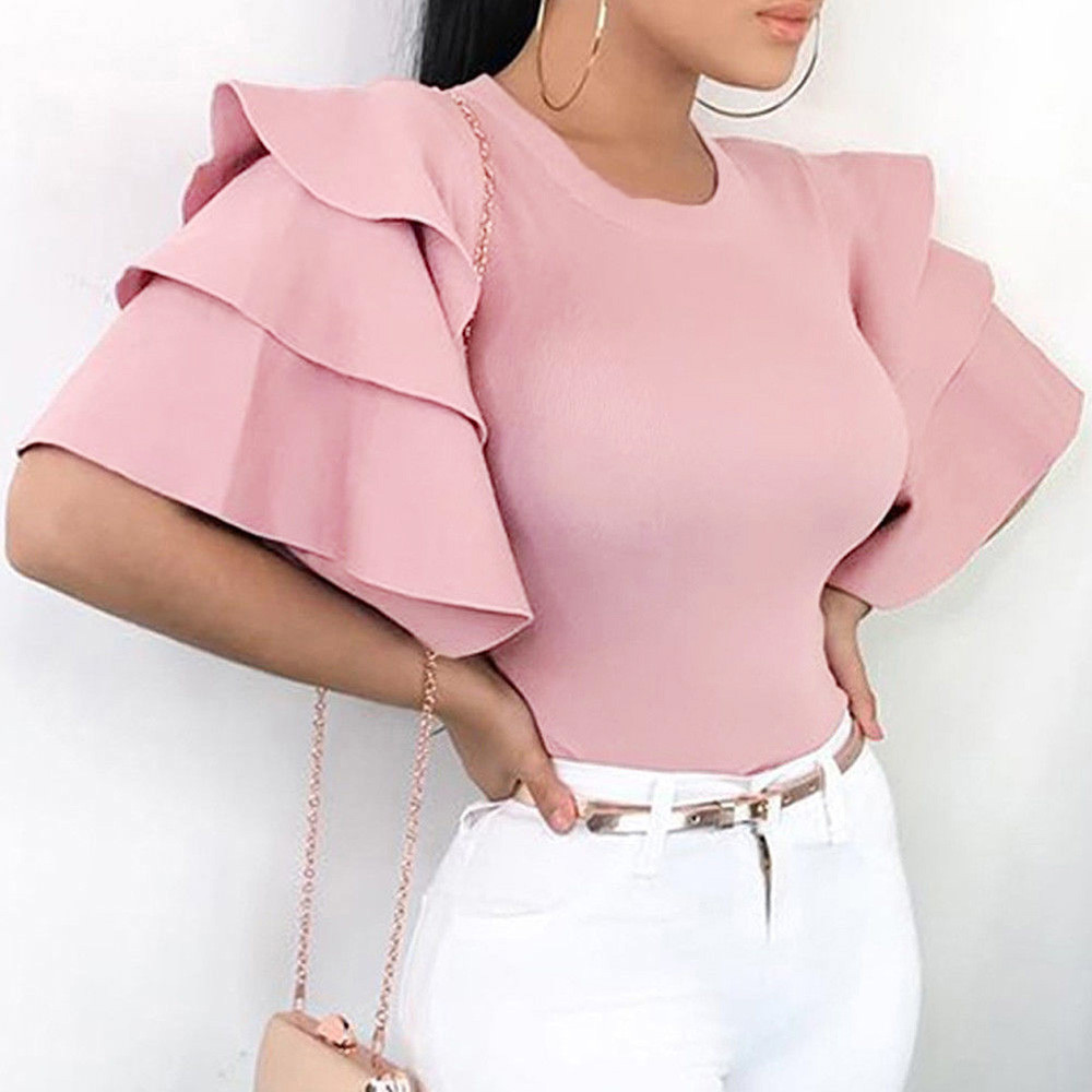 2018 Women Blouses Summer Shirts Fashion Tops Solid Layered Flare Sleeved Tees O-Neck Evening Top Blouse