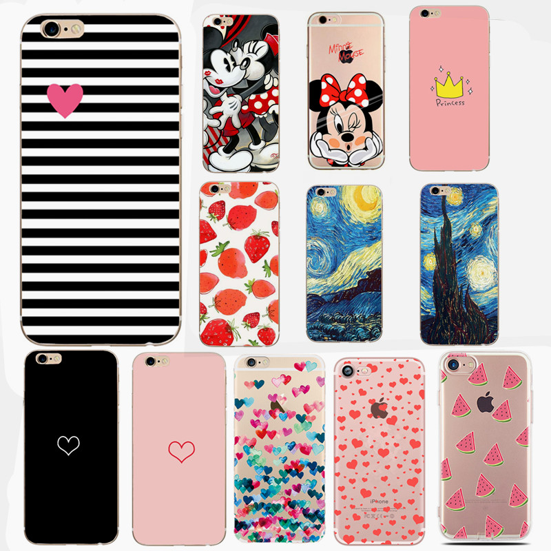 For Apple Iphone 7 6 6S 5 5S SE Slim Soft Flower Flag Phone Case Shell For Iphone 7 6 6S 5 5S SE Thin TPU Cover iPhone