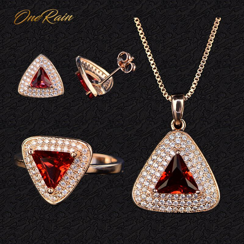 OneRain Vintage 100% 925 Sterling Silver Ruby Gemstone Rose Gold Plated Earrings Studs Ring Necklace Jewelry Sets WholesaleOneRain Vintage 100% 925 Sterling Silver Ruby Gemstone Rose Gold Plated Earrings Studs Ring Necklace Jewelry Sets Wholesale