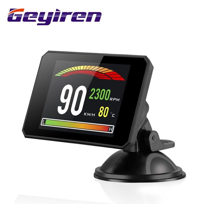 GEYIREN P16 ヘッドアップディスプレイ hud obd2 温度車キロ/h MPH ターボ過給圧速度プロジェクター風防カー hud -    グループ上の 自動車 &バイク からの ヘッドアップディスプレイ の中
