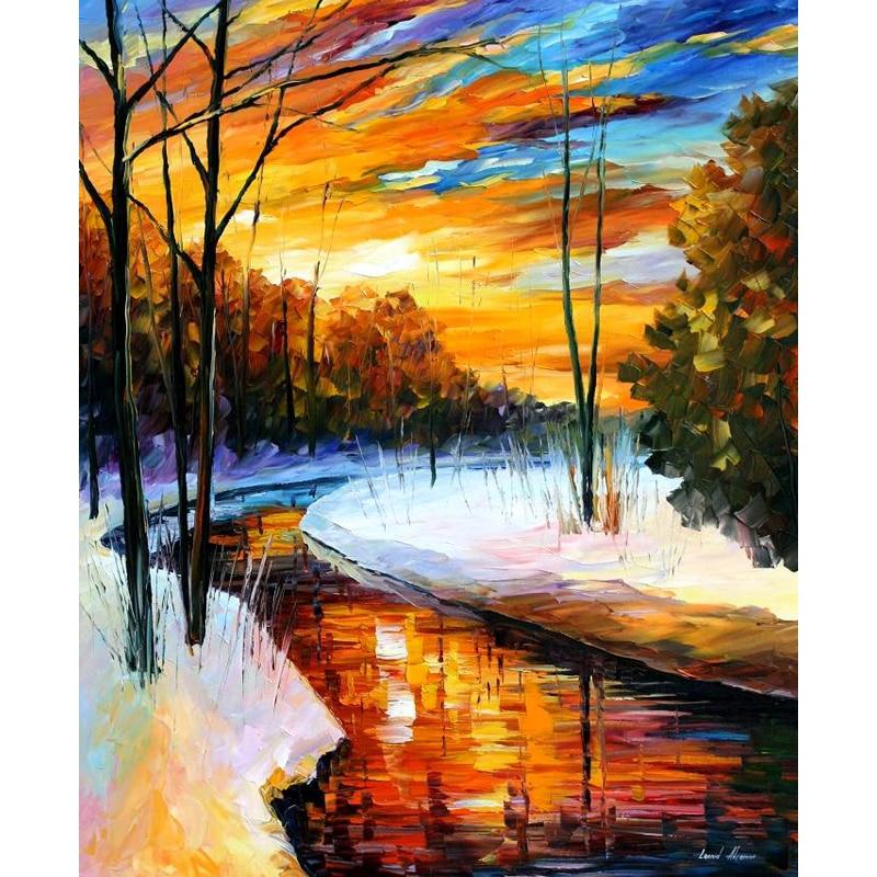 100 Handmade Modern Palette font b Knife b font landscape Oil Painting On Canvas Art Pictures