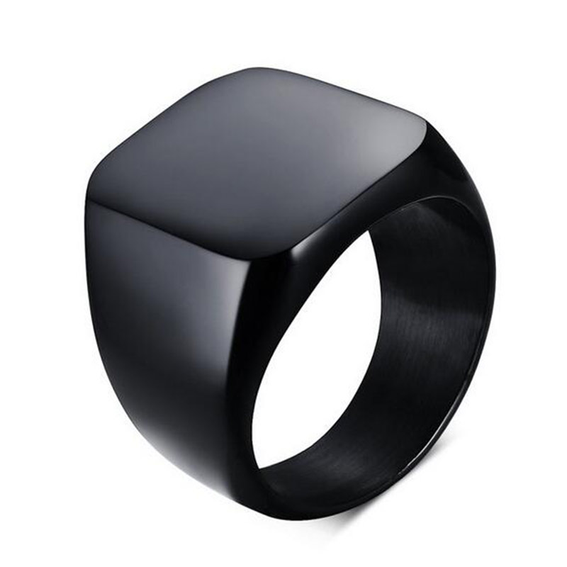 Mænd titanium ring kort design mode 316L rustfrit stål punk sort ring vielsesring Utr8136