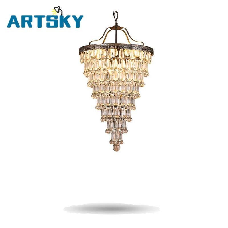 Retro Modern American Minimalist Iron Crystal Pendant Light Northern Europe Style for Dining Room Kitchen Foyer|crystal pendant lights|pendant lights|retro modern - title=