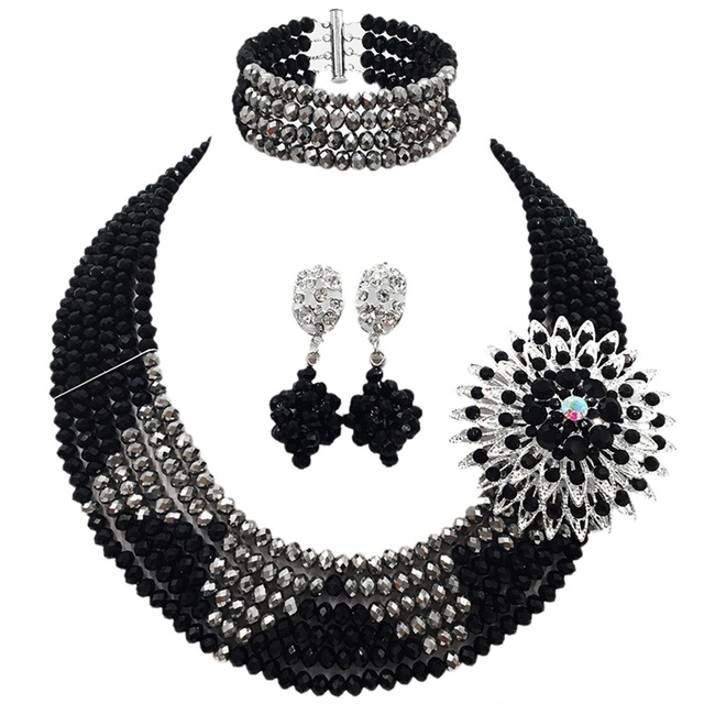LAANC Brand On Sale Well Received Black Silver Color Pretty Crystal Beads Couples Engagement Necklace Jewelry Sets 6C-SJ-03