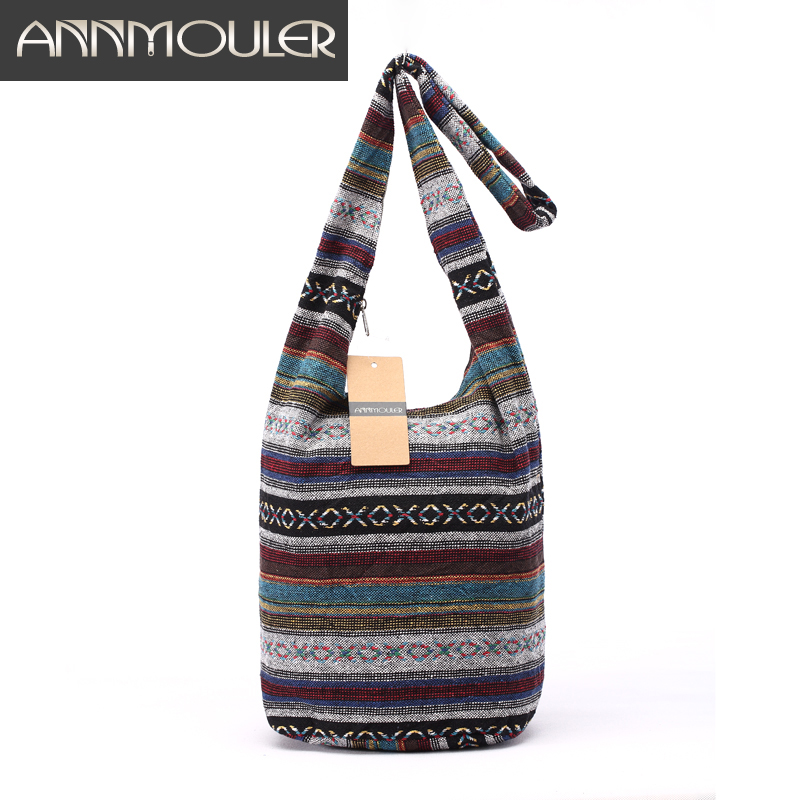 Կանանց Vintage ուսի պայուսակ Mochila Retro Weave Fabric Messenger Bag Bohemian Style Hippie Aztec Folk Tribal Crossbody Bag