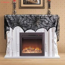 8-Season Halloween Table Cloth Black Lace Spider Web Fireplace Mantle Scarf Cover Tablecloth Halloween Party Decoration ourwarm 1pc halloween table cloth party table decoration spider web lace design rectangle tablecloth with ghost party decoration
