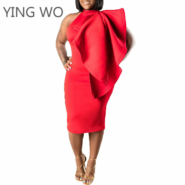 Red Plus Size High Neck Petal Shoulder Bodycon Dress Elegant Ladies