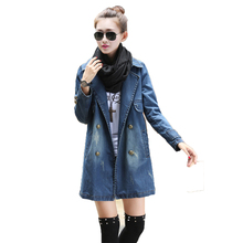 Trench coat women autumn and winter Korean casual long sleeve S-4XL plus size double-breasted fashion cowboy windbreaker LR290