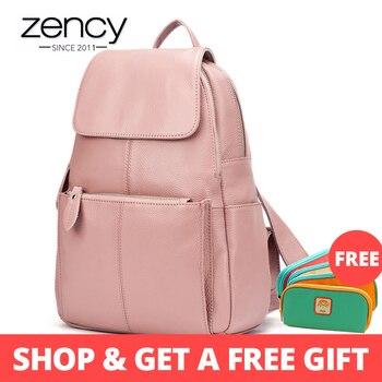 Zency 14 Kleuren 100% Echt Leer Vrouwen Rugzak Mode Dames Reistas Preppy Stijl Schooltassen Voor Meisjes Laptop Knapzak
