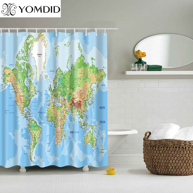Different World Map Pattern Shower Curtains Printed Bathroom Wall Hanging Curtain