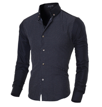 New Brand Men Shirts Long Sleeve Male Business Casual Printed Fashion Formal Dress Shirts Slim Fit Masculina Camisa Plus Size