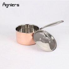 Agniers High Quality 3pans 6pcs copper cookware set Five-Ply copper clad steel 20cm Sauce pan + 24cm Soup pots + 26cm Saute pan