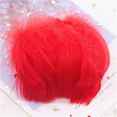 Натуральные гусиные перья 4-8 см, маленькие плавающие цветные перья лебедя, Плюм для рукоделия, свадебные украшения, украшения для дома, 100 шт - Цвет: Red 100pcs
