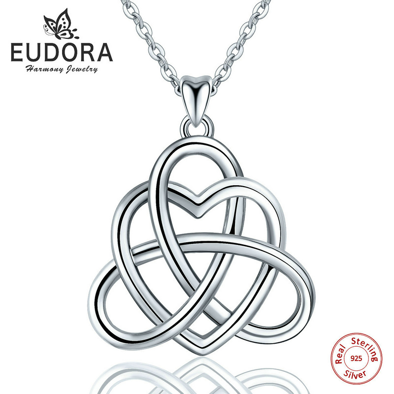 Angel Caller Real Sterling Sliver Eternal Love Heart Celtics Knot Pendant Necklace Women Fashion Jewelry For Birthday Happy Gift eternal angel d354