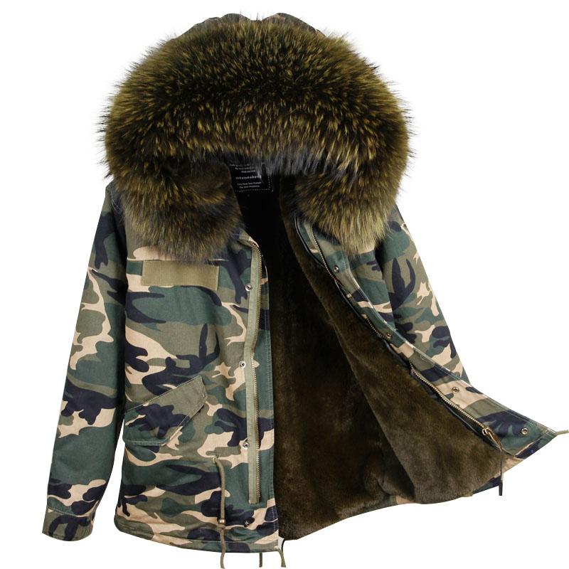 2017 Women's Fashion Loose Large Real Raccoon Fur Hooded Split Camouflage Parkas Jackets Ladies Casual Faux Lining Coats Otwear